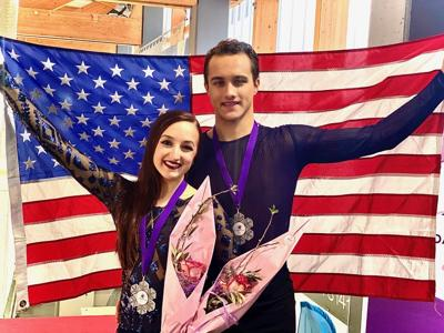Molly Cesanek, 19, and Yehor Yehorov, 21, ice dancers from Warrenton
