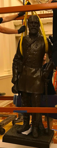 Robert E. Lee statue removed from the Virginia Capitol overnight Thursday, July 23.