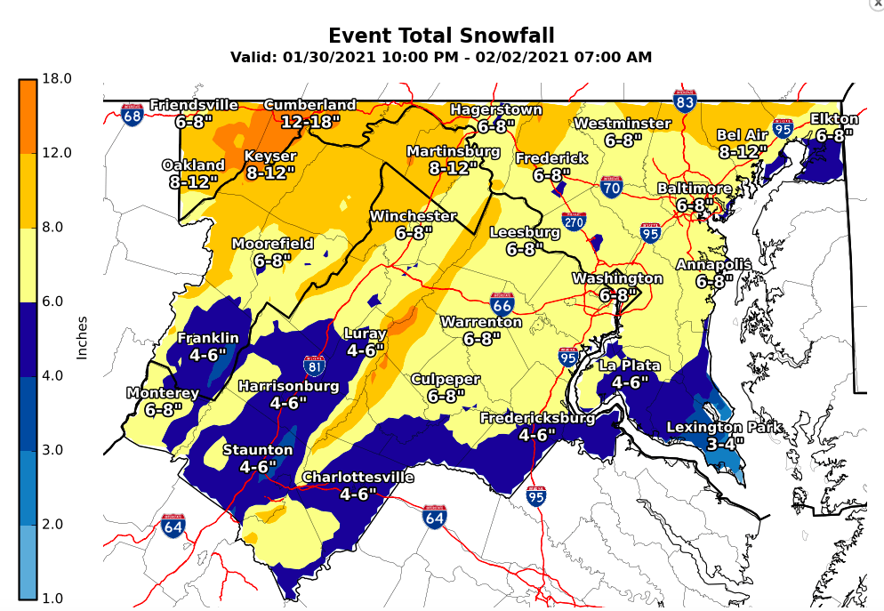 Weather service map prediction snow accumulation Jan. 31 to Feb. 2