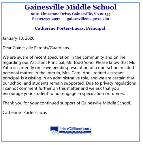 Letter from Gainesville Middle School Principal Catherine Porter-Lucas