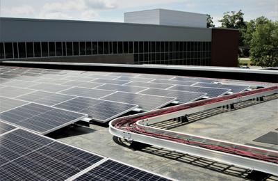 solar panels atop an elementary school Virginia Mercury