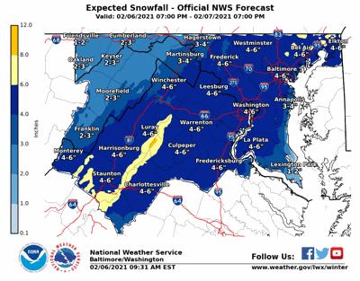 Snow accumulation predictions Feb. 6, 2021
