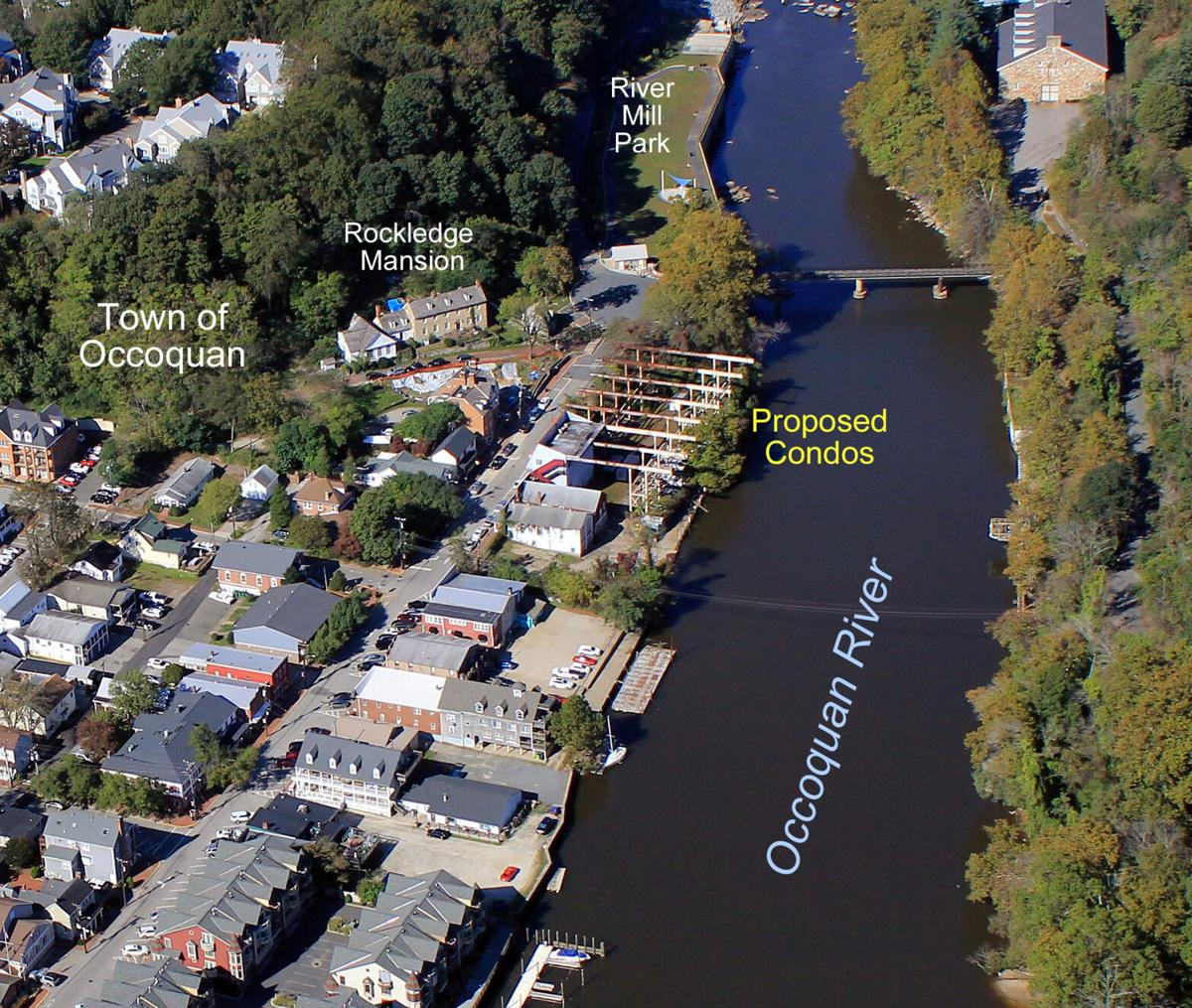 """An aerial view of Old Town Occoquan marked for the """"Mill at Occoquan"""""""