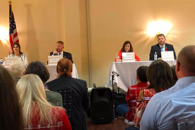 Danica Roem, Lee Carter, Kelly McGinn, Ian Lovejoy at debate