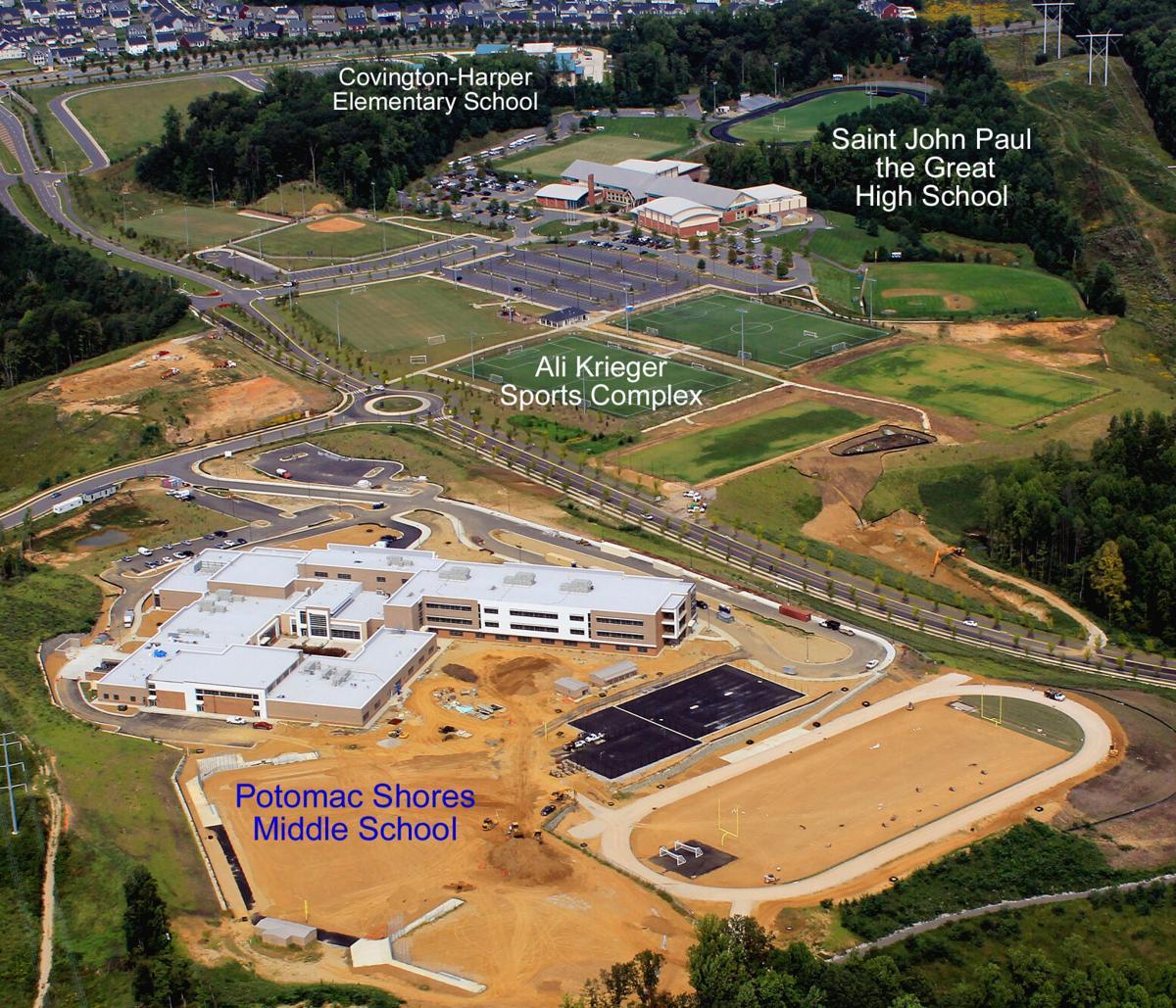 """Potomac Shores"" middle school located in Potomac Shores aerial"