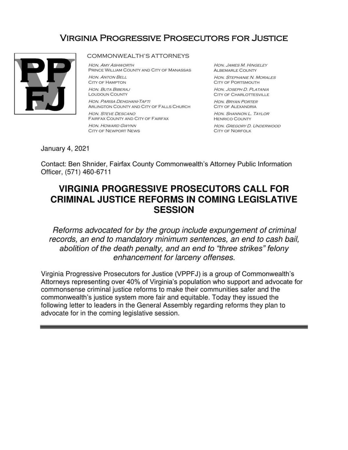 Virginia Progressive Prosecutors for Justice letter advocating to abolish the death penalty among other reforms