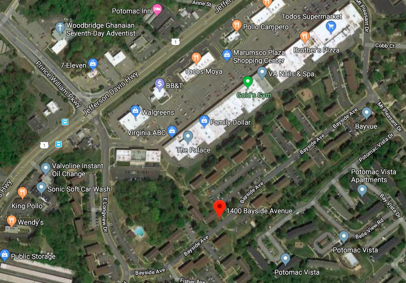 location of Bayvue Apartment complex in Woodbridge