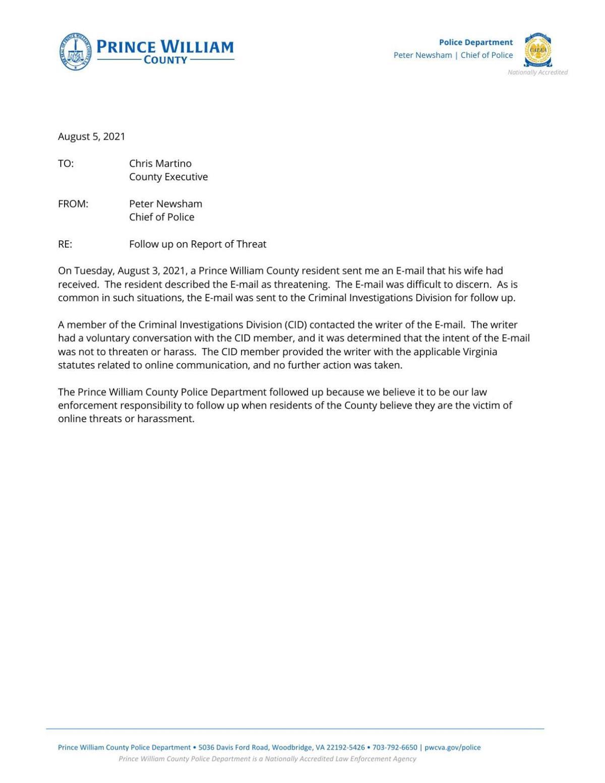 Emails regarding police email investigation
