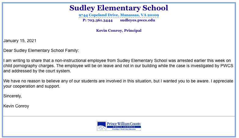 Sudley Elementary School email about child pornography arrest