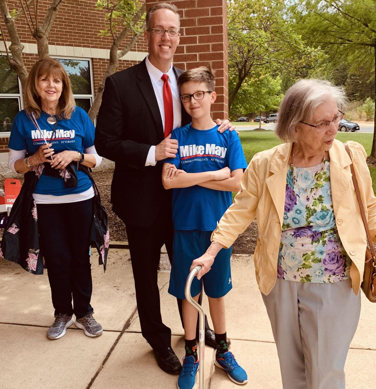 Mike May with Leo and mom outside polls May 4, 2019