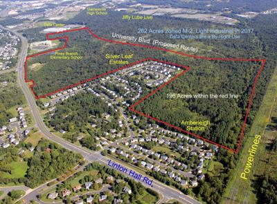 site of Hunter property under rezoning for data centers aerial by Roger Snyder