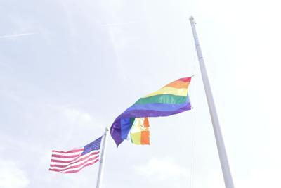 PRIDE flag, U.S. flag