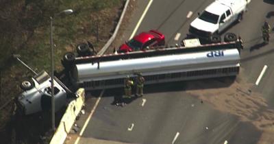 Woodbridge man cited for tanker-truck wreck that closed I-495 for