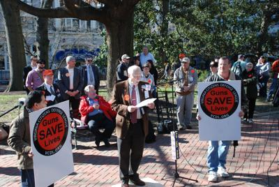 VDCL president Philip Van Cleve speaks at a Lobby Day event in 2015