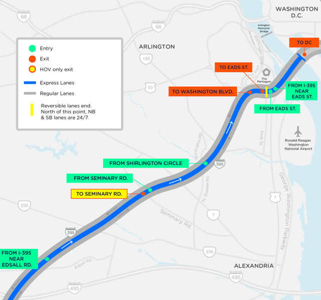 map of Interstate 395 entry points