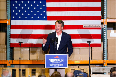Glenn Youngkin speaks before a crowd in Richmond after winning the nomination