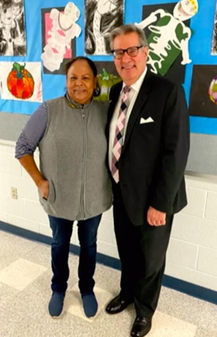Superintendent Steven Walts with Dinora Mejia