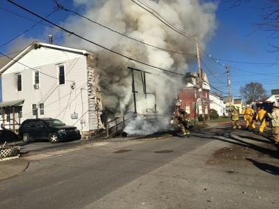 Punxsy fire departments respond to a structure fire in Punxsy Boro