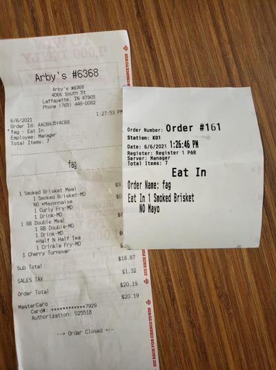 6/7/21 Arby's Receipt Photo
