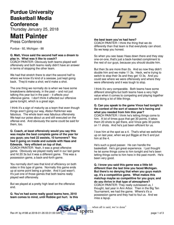 1/25/18 Michigan, Transcript of Coach Matt Painter's Press