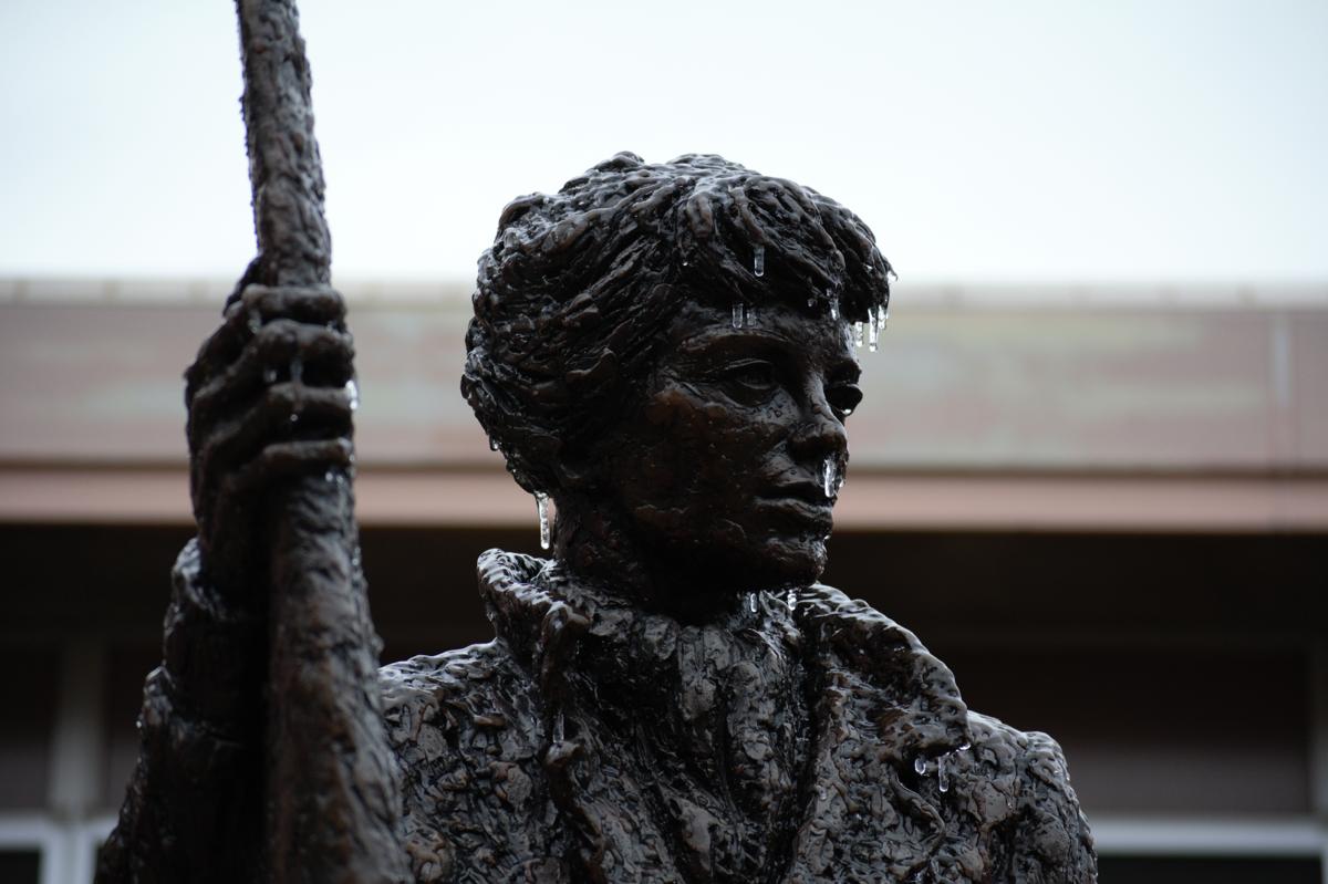 3/15/2021 Icy rain coats campus, Amelia Earhart Statue