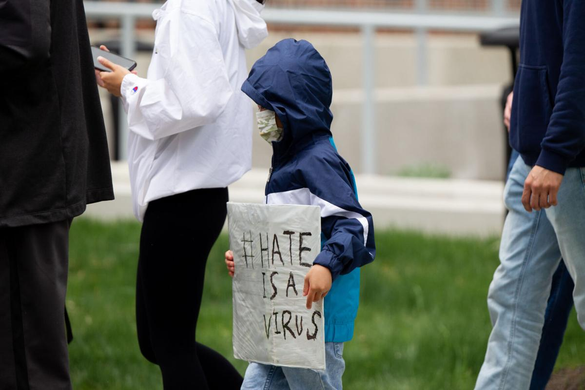 """4/9/21 Stop Asian Hate Rally: Kid holding sign, """"#Hate is a virus"""""""