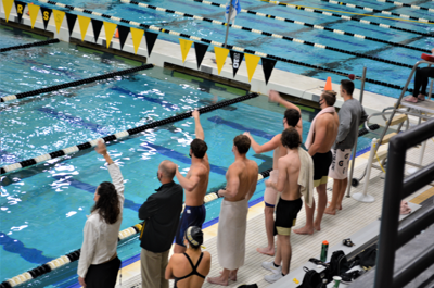 11/20/20 Swim Meet, Teammates Cheering