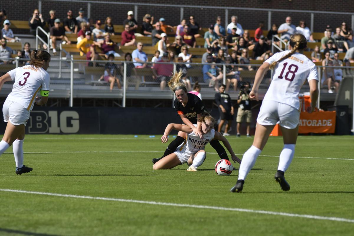 10/10/21 Minnesota, Sarah Griffith tripping over a Minnesota player
