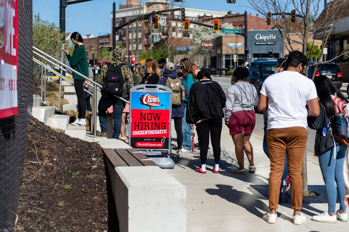 4/13/21 Raising Cane's Opening, Sidewalk line