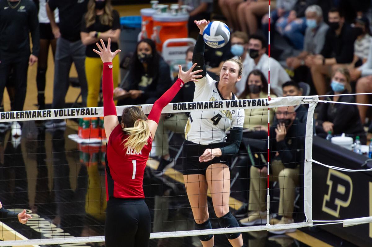 10/2/21 Rutgers, Caitlyn Newton spikes the ball