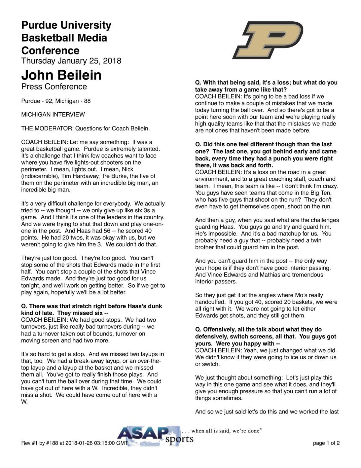 1/25/18 Michigan Coach Comments   Basketball   purdueexponent.org