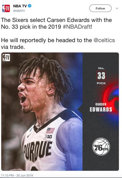 NBA Screenshot of Carsen Edwards selection