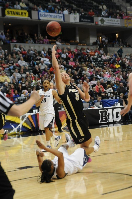 3/3/12 Big Ten Tournament, Brittany Rayburn falling vs. Penn State