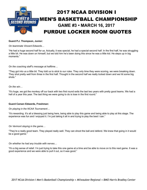 31617 Purdue Postgame Locker Room Quotes Basketball