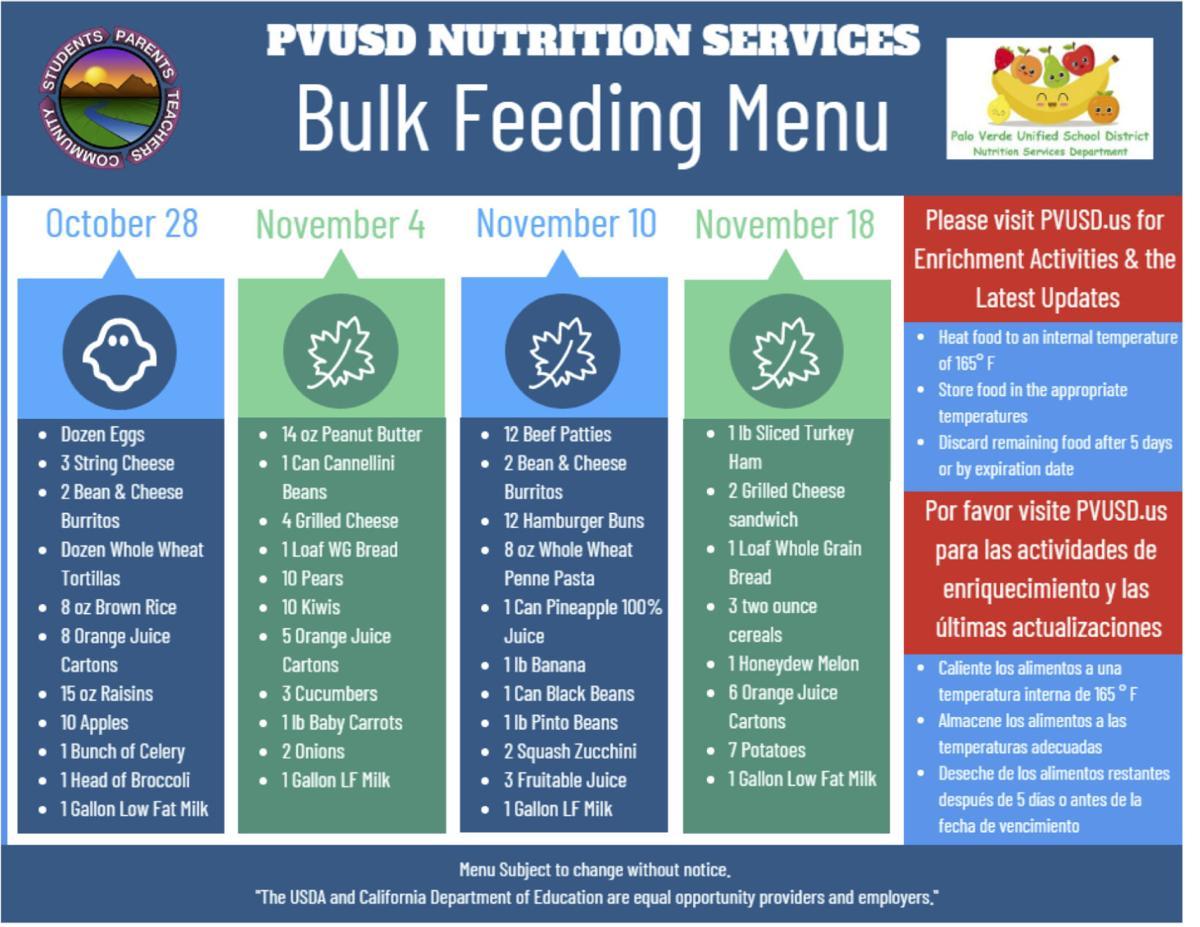 PVUSD adjusts meal program, switch to 'bulk feeding': New food distribution model begins Oct. 28
