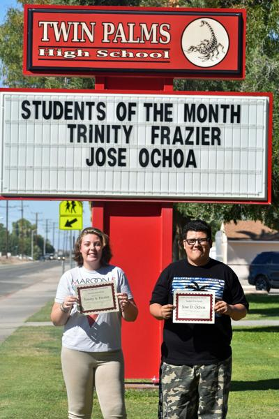 Twin Palms names 'Students of the Month': Jose Ochoa and Trinity Fraizer