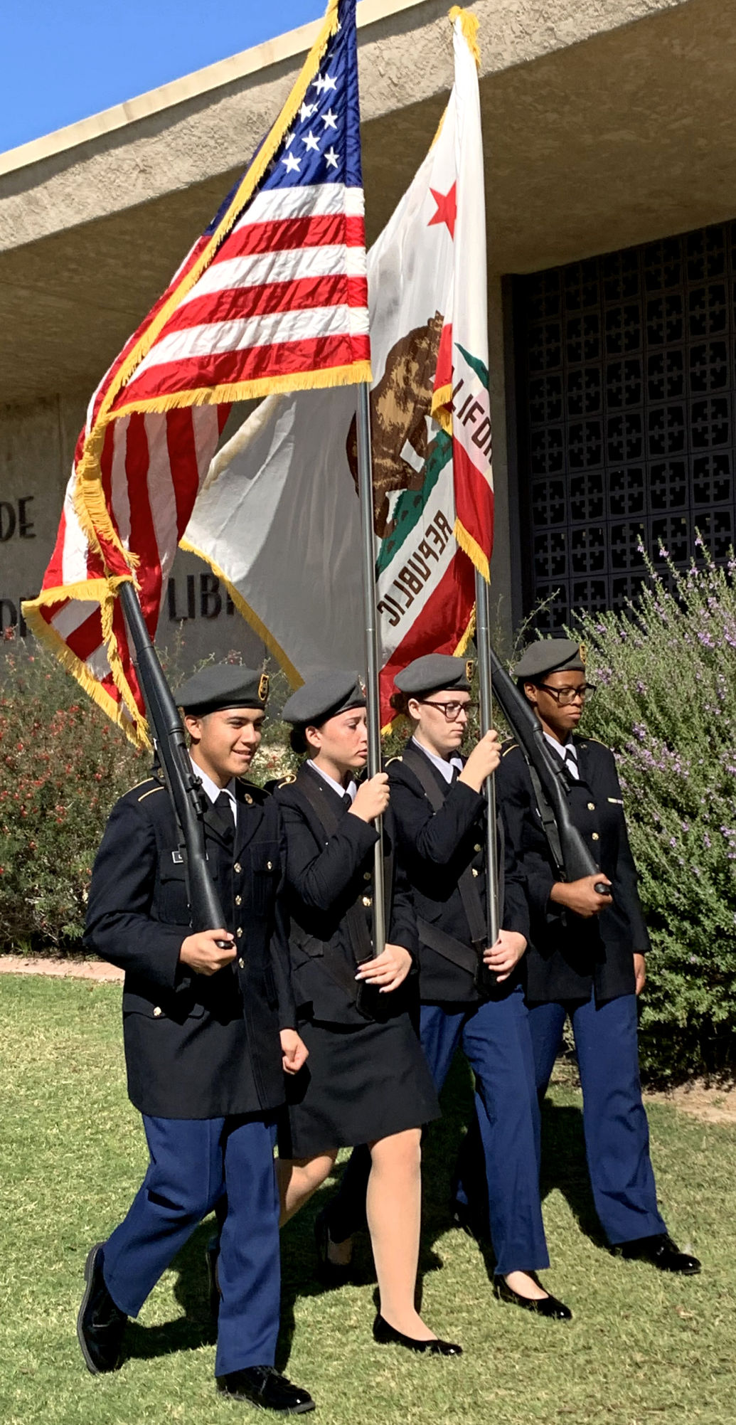 Flag donated to library in memory of CHP officer, patron: Blythe JROTC pay tribute to Lt. Timothy Maley