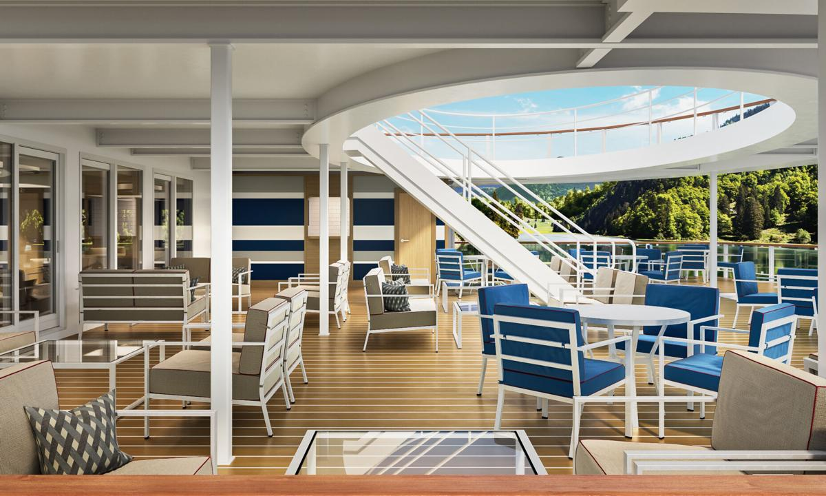 American Cruise Lines' modern riverboat interiors - outside aft lounge