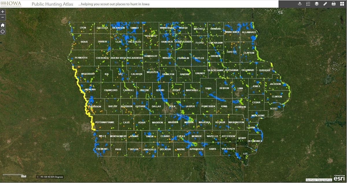 Iowa Department of Natural Resources hunting map