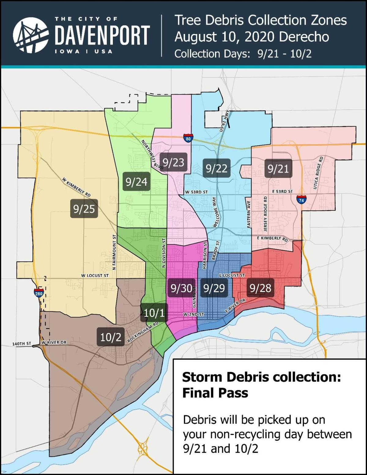 City of Davenport tree debris collection zones