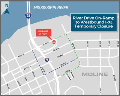 River Drive ramps closed to Iowa-bound traffic Monday ... on map of interstate 90, map of interstate 20, map of interstate 69, map of interstate 73, map of interstate 480, map of interstate 99, map of us interstate highway system, map of interstate 5, map of interstate 70, map of interstate 25, map of interstate 280, map of interstate 15, map of interstate 77, map of interstate 8, map of interstate 485, map of interstate 35, map of interstate 75, map of interstate 45, map of interstate 79, map of interstate 80,