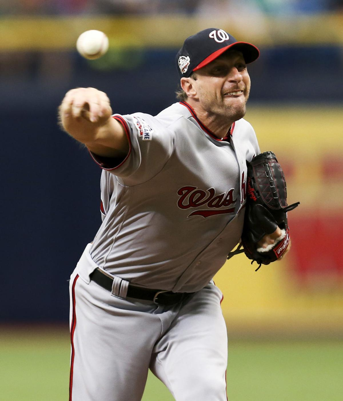 Washington Nationals pitcher Max Scherzer throws against the Tampa Bay Rays on June 26, 2018, in St. Petersburg, Fla.