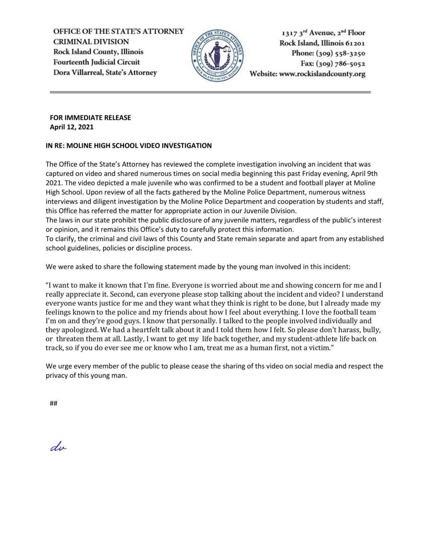 State's Attorney statement on Moline video