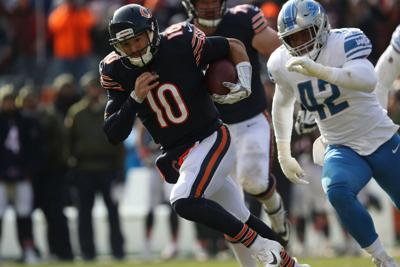 Chicago Bears quarterback Mitch Trubisky (10) rushes in the second quarter against the Detroit Lions on Sunday, Nov. 11, 2018 at Soldier Field in Chicago, Ill.