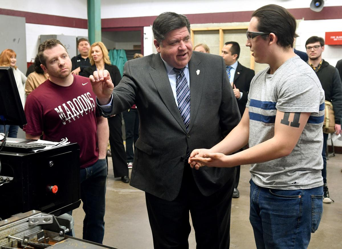 Governor J.B. Pritzker touring career and technical education programs at Moline High School