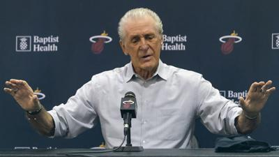 Miami Heat president Pat Riley speaks with members of the media during his season-ending news conference at the AmericanAirlines Arena in downtown Miami on April 13, 2019.