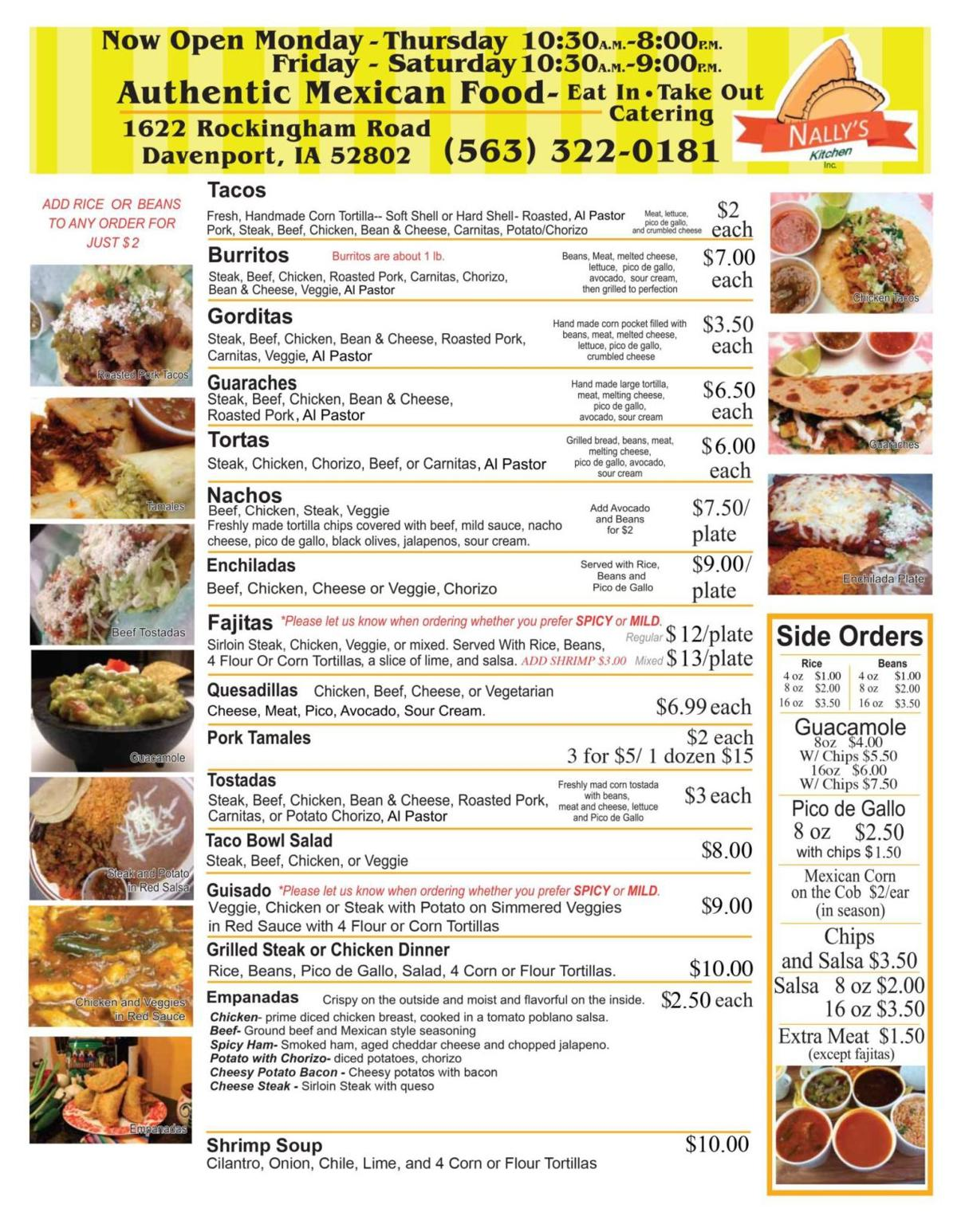 Nally's Menu2