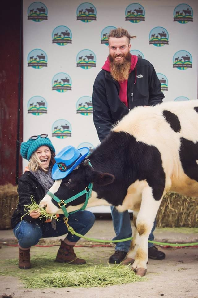 Nikki and Jeff Grim with Carl the cow