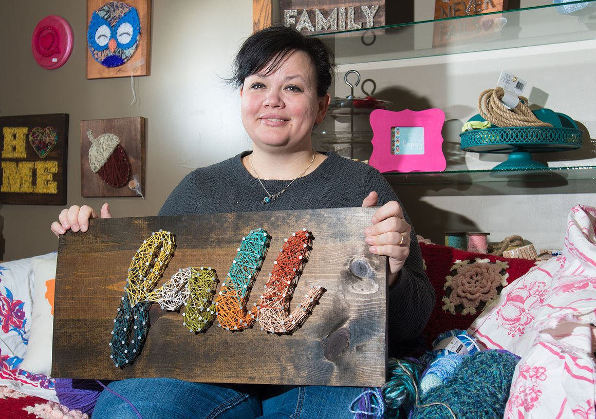 Strung by Shawna:  Davenport woman turns wood, yarn and nails into art