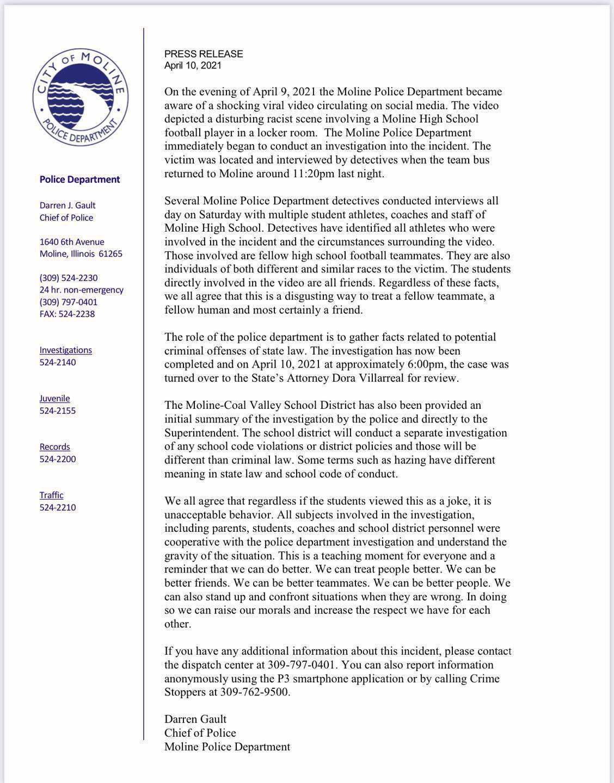 Statement from Moline Police Chief Darren Gault